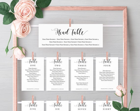 DIY Seating Charts for frame, Printable Head and Top Table, Header and Seating Card Templates for your frame, 'Mr. & Mrs.' Editable PDF