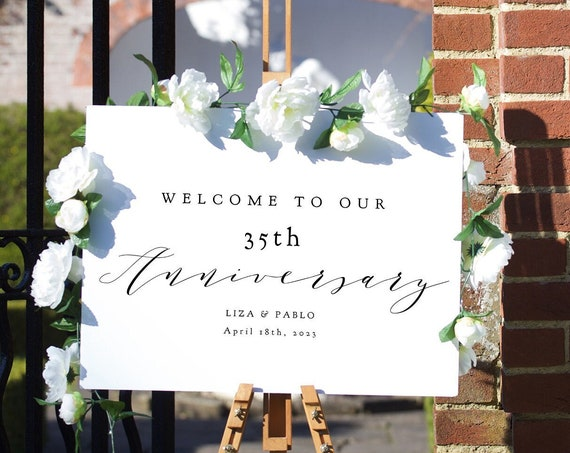 """35th Anniversary Welcome Sign, Printable 35th Anniversary or any other number, DIY Printable, """"Wedding"""" 4 sizes, Corjl Template, FREE Demo"""