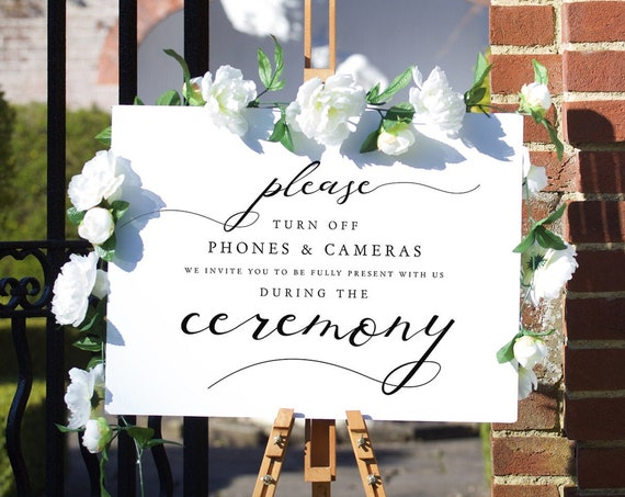 Lucy - Turn Off Phones & Cameras During Ceremony Printable Signs, Add your names, Corjl FREE demo