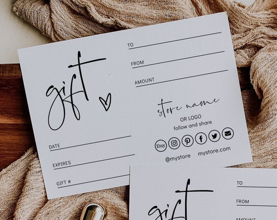 Gift Voucher Certificate Template, Editable Gift Certificate, Store Gift Card, Printable Gift Card, 3 Sizes, Corjl Template FREE Demo | 86