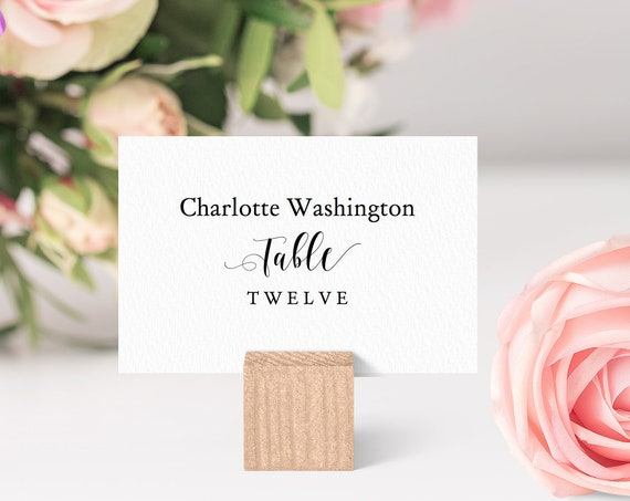 "3x2"" Flat Place Cards, Printable Name Cards, 'Table' is fixed. Great for sitting inside corks on wedding table 'Mr. & Mrs.' Editable PDF"