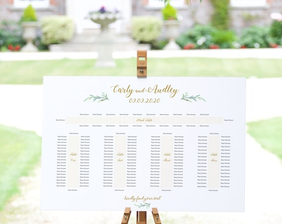 "5 Banquet Table Seating Plan Template, Wedding Printable, with or without names on the ends ""Greenery"" 24x36"", A1 sizes, Editable PDF"