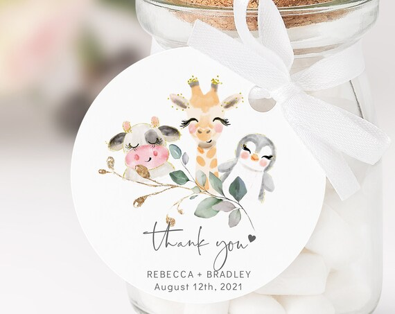 Baby Animal - With Masks or Without Masks, Round Circle Favour Tags, Baby Shower, Gift Tags, Printable Editable Template, Corjl, FREE Demo