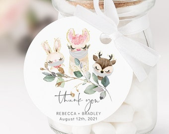 Baby Animal - Round Circle Favour Tags, Animals with or without Masks, Baby Shower, Gift Tags, Printable Editable Template, Corjl, FREE Demo