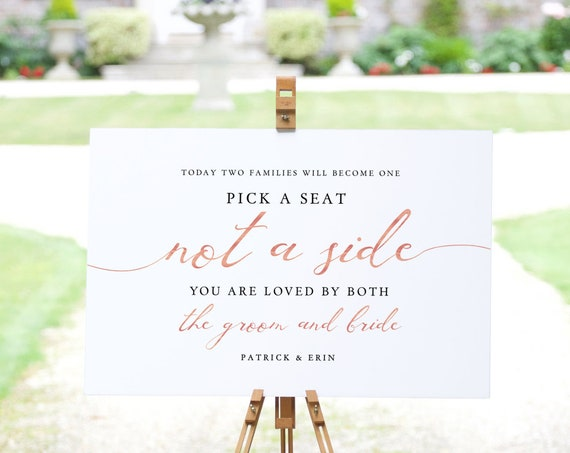 Today Two Families will Become One, Pick a Seat not a side Printable Sign, Rose Gold EFFECT, Instant Download, 'LucyRose', Editable PDF
