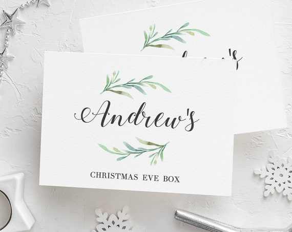 Christmas Eve Box Label, Printable Labels for Christmas boxes or presents, 4 sizes DIY printable Box Labels, Greenery, Editable PDF