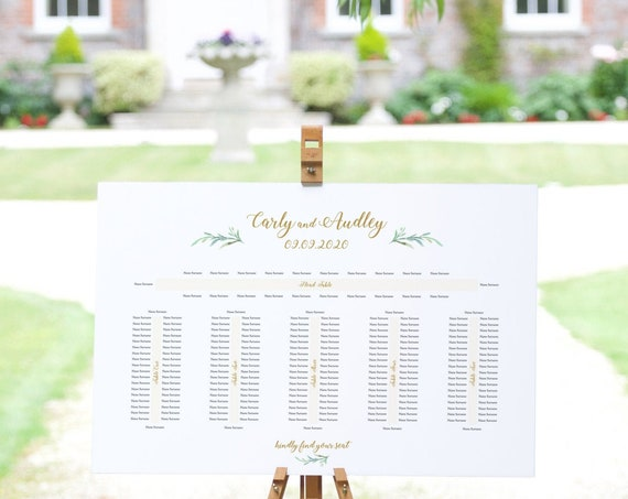 "6 Banquet Table Seating Plan Template, Wedding Printable, with or without names on the ends ""Greenery"" 24x36"", A1 sizes, Editable PDF"