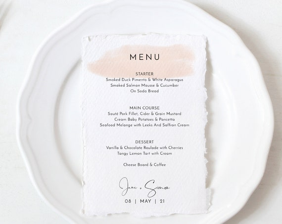 "Blush - Blush Watercolour Stroke Menu Cards, Blush Menus, Blush Printable Menu Cards, 5x7""& 4x9"", Corjl Templates, FREE Demo"