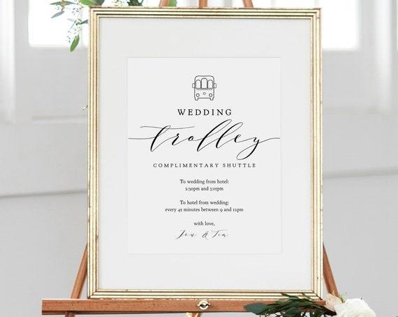 """Wedding Trolley Shuttle Sign, 8x10"""", 16x20"""", 18x24"""", Printable Wedding Trolley Sign, Corjl FREE Demo"""