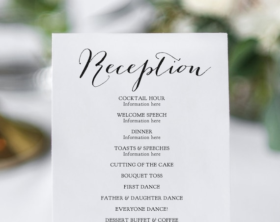 Reception Program, Printable DIY Wedding Reception Card in 6 sizes, 'Sweet Bomb', Corjl Template, FREE Demo