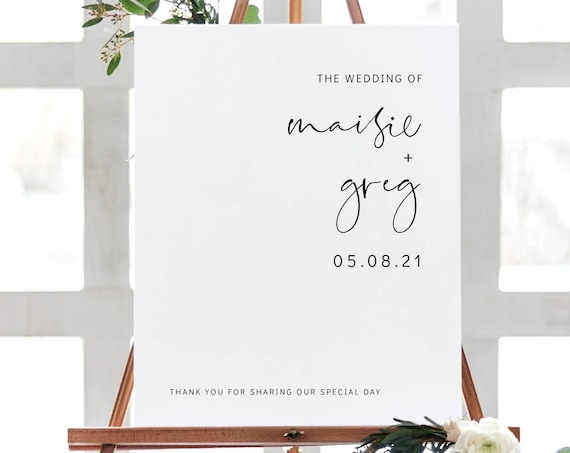 Modern - Welcome Wedding Sign in 6 Sizes, Welcome to our Wedding Printable Sign, Printable Templates, Corjl, FREE Demo