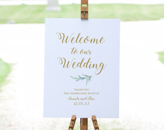 """Greenery Welcome Wedding Signs, Printable Welcome Editable Templates, 16x20"""", 18x24"""", 24x36"""", A2, A1 sizes, Corjl Templates, FREE Demo"""
