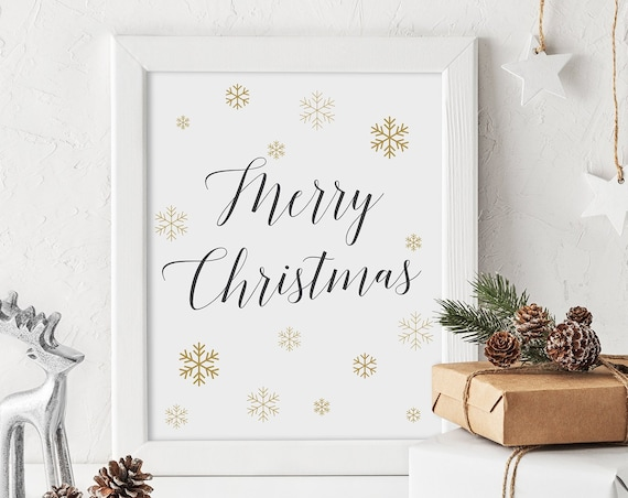 "Merry Christmas Sign, Snowflake Printable Signs, Gold Snowflakes 8x10"" Download and Print"