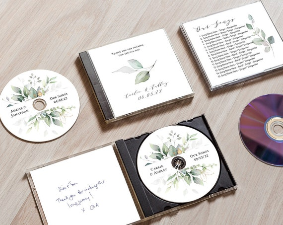 CD Cover Template, Printable cd Wedding Favors, DIY Template, Case and Disc templates included, Corjl Template, FREE Demo