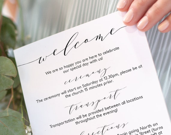 """Welcome Itinerary 5x7"""" Wedding Guest note, Welcome letter template, """"Wedding"""" printable wedding welcome, Corjl FREE Demo"""
