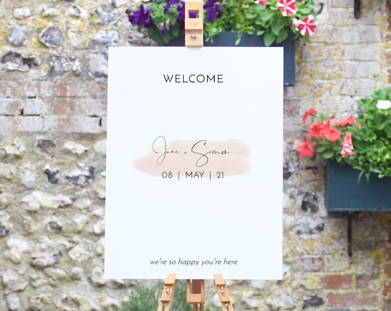"Blush - Modern Welcome Sign, Blush Wedding, Welcome Sign with a Blush Watercolour Stroke, 18x24"" & A2, Corjl Templates, FREE Demo"
