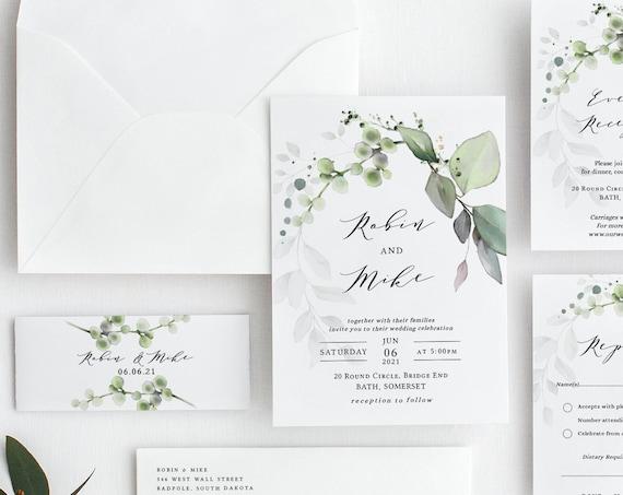 Leaf & Gold - Greenery Wedding Invitation Suite Bundle, 11 piece template set, Beautiful Greenery Wedding Set, Corjl Templates, FREE Demo