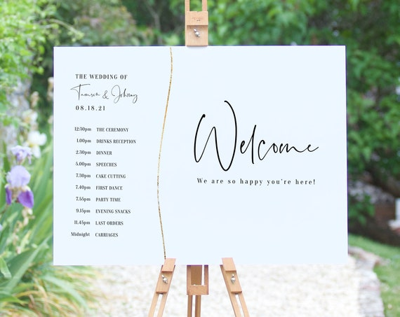 "Abstract - Modern Wedding Welcome Program Sign, Wedding Order of Events Sign, Order of the Day, 18x24"", A2, Corjl Templates, FREE Demo"
