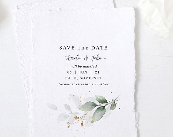 "Leaf & Gold - Beautiful Greenery Save the Dates, Minimal Greenery Save the Date, Botanical, 5x7"", 4x5.5"", A6, Corjl Templates, FREE Demo"