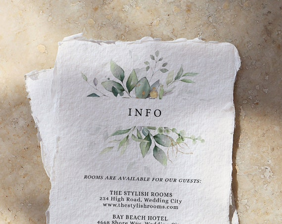 "Leaf & Gold - Wedding Information Card, Beautiful Greenery Printable Wedding Enclosure Cards, Printable Templates, 4x5.5"", Corjl FREE Demo"