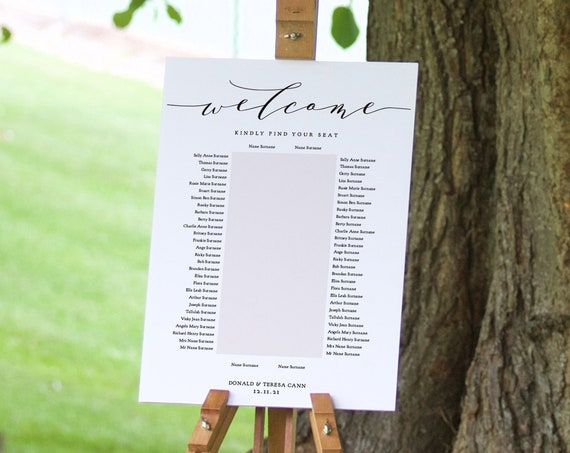 """1 Banquet Table Seating Plan, Printable Portrait Seating Plan Template """"Wedding"""", 6 Sizes from 24x36"""" to A3, Corjl Templates, FREE Demo"""