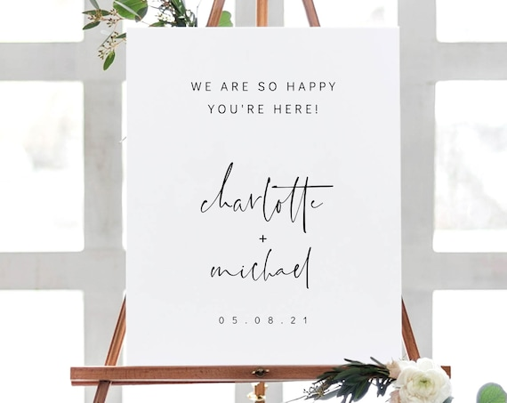 Moderna - Modern Welcome Wedding Signage in 6 Sizes, Welcome to our Wedding Printable Sign, Printable Templates, Corjl, FREE Demo