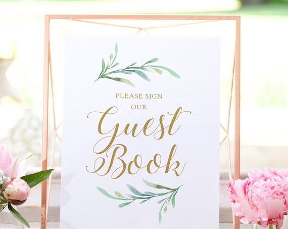 "Printable Please Sign Our Guest Book Sign, Printable Wedding Greenery Sign 8x10"" Download and Print"