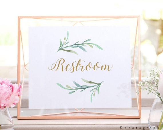 """Restroom Sign, Printable Restroom Sign in 5x7"""" and 8x10"""". Greenery Wedding Sign, Download and Print"""