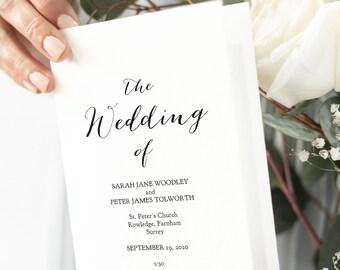 "Folded Wedding Program Template, Modern Rustic Wedding Program Order of Service, ""Sweet Bomb"", Edit, Print, Fold, Corjl FREE Demo"