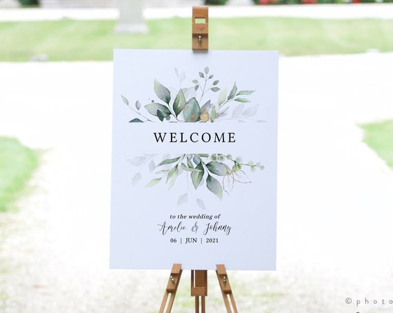 "Leaf & Gold - Greenery Welcome Wedding Sign, Greenery Wedding, Garden Wedding Signs, 18x24"", A2, Corjl Templates, FREE Demo"
