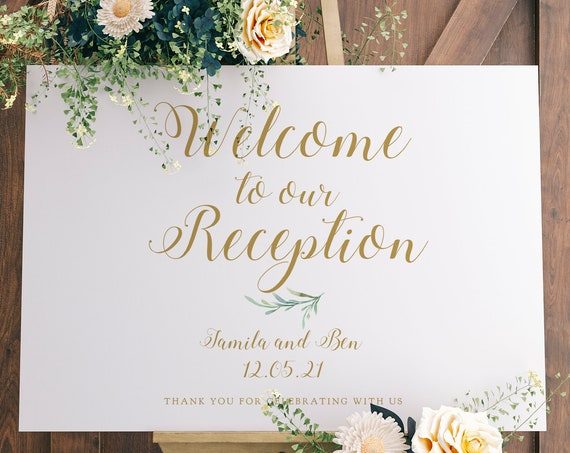 "Welcome to our Reception Sign Printable, Greenery Welcome Reception Printable Signs 18x24"" and A2 sizes. FREE Demo on Corjl"