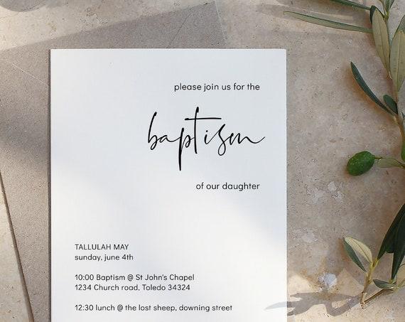 Modern - Modern Minimalist Baptism Invitation Template, Simple Baptism Invitation, Editable Template Corjl, FREE Demo