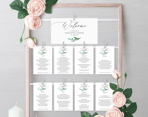 "Greenery Seating Card Templates to print out & make a hanging seating frame or fix them to an ornate object ""Wedding Greenery"" Editable PDF"