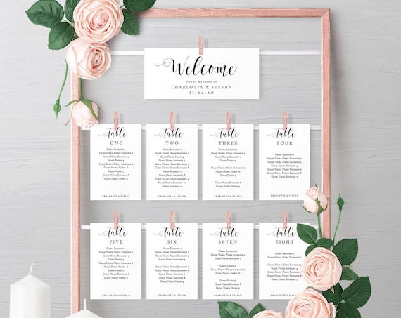 Make a DIY Hanging Seating Chart Frame with these Printable Seating Card Templates, Table Plan, instantly download 'Mr. & Mrs.' Editable PDF