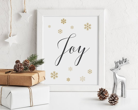 "Joy Love Peace Christmas Signs, Snowflake Printable Signs, Gold Snowflakes, 3 signs 8x10"" Download and Print"