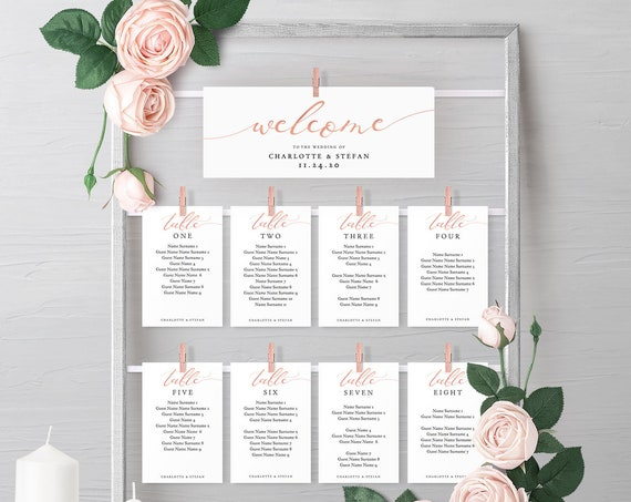 Make your own Rose Gold EFFECT DIY Hanging Seating Chart Frame using these Printable Templates, instantly download 'LucyRose' Editable PDF