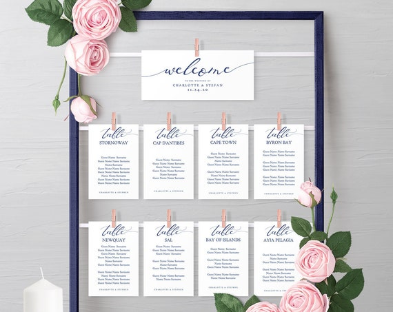 Make your own Navy Blue Hanging Seating Chart or fix these printable cards to an ornate object, instantly download 'Lucy Navy' Editable PDF