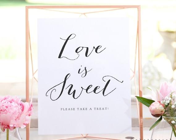 Love is Sweet please take a treat printable sign, 8x10, 8.5x11 and A4 wedding signs, printable sign, wedding love is sweet sign, Sweet Bomb.