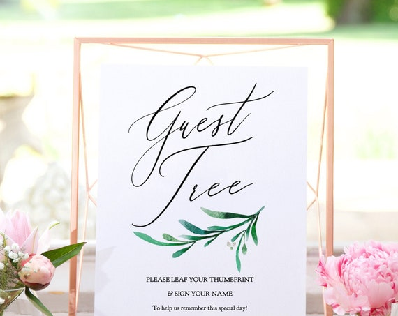 "Greenery Wedding Guest Tree Printable Template, Guest Tree Sign to Customise and Print, 8x10"" ""Wedding Greenery"" Editable PDF"