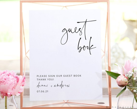 "Modern - Modern Minimalist Guest Book Sign, Wedding Guestbook, Printable Guest Book Sign, 8x10"", Corjl, FREE Demo"