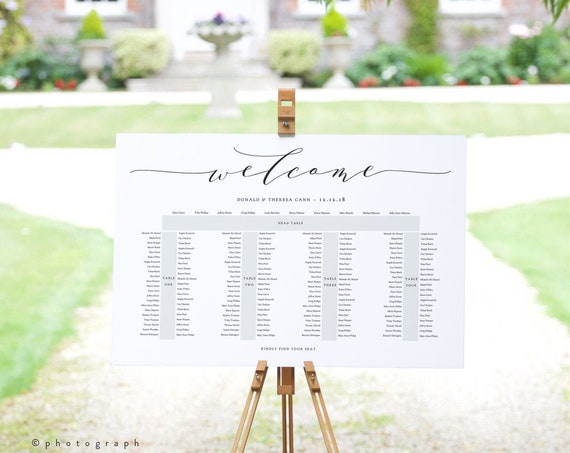 """Banquet Seating Chart 5 Long Tables, Head Top Table plus 4 Tables, Printable Template, """"Wedding"""" 24x36"""" and A1 sizes, Corjl Template"""
