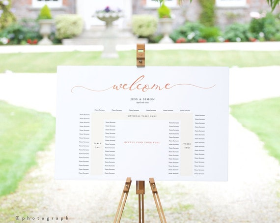 LucyRose - U Shape Table Seating Plan, Wedding Banquet Printable Template, DIY Wedding, Rose Gold EFFECT, Corjl Template, FREE demo