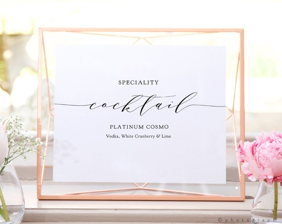 """Speciality Cocktail Sign, Signature Cocktail Sign, Cocktail Tasting, Printable Wedding Drinks Sign, 8x10"""", """"Wedding"""" Corjl FREE Demo"""