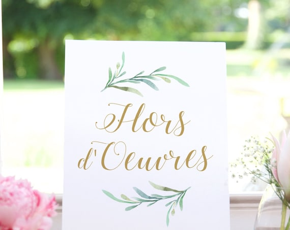 "Hors d'Oeuvres Printable Signs, 8x10"", 18x24"" and A2 sizes included in download, Printable Wedding Signs, ""Greenery"" Download and Print"