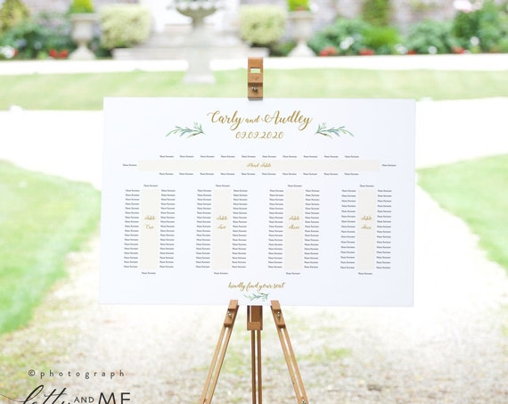 "5 Banquet Table Seating Plan Template, Wedding Printable, with or without names on the ends ""Greenery"" 24x36"", A1 sizes, Corjl FREE Demo"