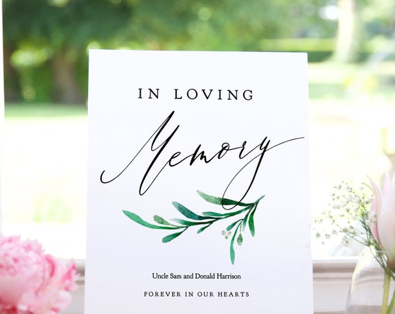 "Greenery In Loving Memory Wedding Printable Template, Loving Memory Sign to Customise and Print, 8x10"" ""Wedding Greenery"" Editable PDF"