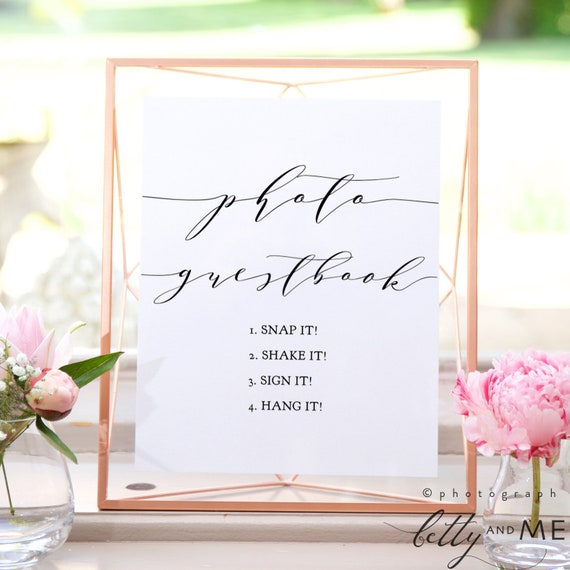 "Photo Guestbook Sign, Snap it Shake it Sign it Hang it Printable Sign, 8x10"" ""Wedding"" Download and Print!"