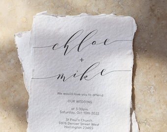 "Romantic - Elegant Wedding Invitations, Modern Wedding Invitation Template, Printable Invitation Set, 5x7"", 4x5.5"" & A6, Corjl FREE Demo"