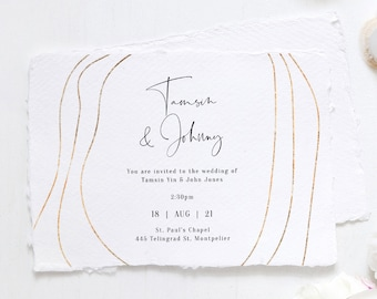 """Abstract - Gold Modern Wedding Invitations, Minimalist Gold Invitations, Gold Wedding Invitation, 5x7"""", Corjl Templates, FREE Demo"""