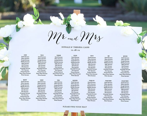 "Seating Plan Template, Wedding Seating Chart, ""Sweet Bomb"" 4 Sizes, Corjl Template, FREE Demo"